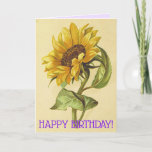 [ Thumbnail: Loving Vintage Style Sunflower Birthday Card ]