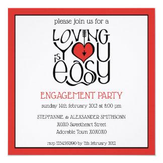 Loving You black red Engagement Invitation