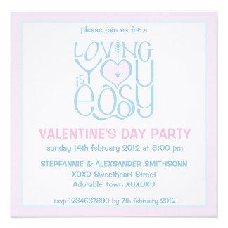 Loving You blue pink Valentine's Day Invitation