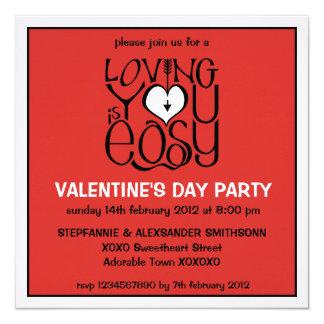 Loving You red white Valentine's Day Invitation