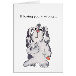 Loving You Wrong Cartoon Rabbit Valentines Card