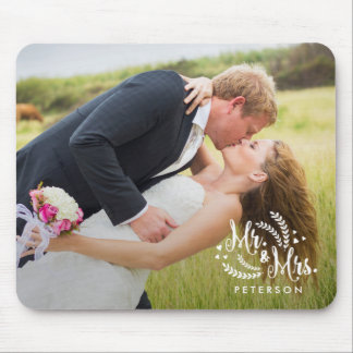 Lovingly Married Mr and Mrs Photo Mousepad
