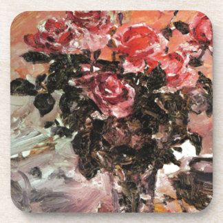 Lovis Corinth pink-roses-1924 flowers Coaster