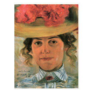 Lovis Corinth - Womens Half-portrait with straw ha Postcard
