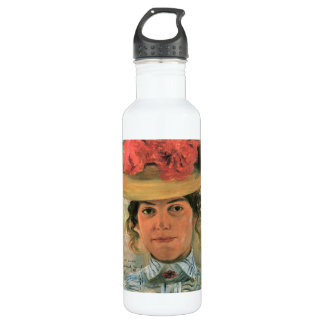 Lovis Corinth - Womens Half-portrait with straw ha Water Bottle