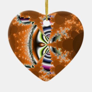 Lovliness anaranjado adorno navideño de cerámica en forma de corazón