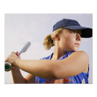 Low angle side view of a softball player looking poster