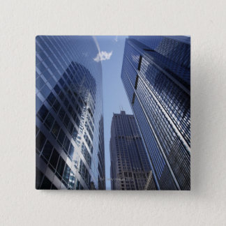 Low angle upward exterior view of downtown 2 pinback button