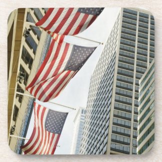 Low angle view at American flags in downtown Drink Coaster