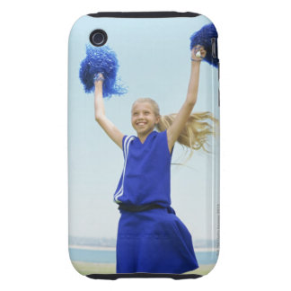 low angle view of a cheerleader holding up tough iPhone 3 cases