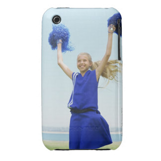 low angle view of a cheerleader holding up iPhone 3 cover