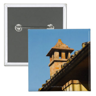 Low angle view of a chimney on a roof, San 2 Inch Square Button