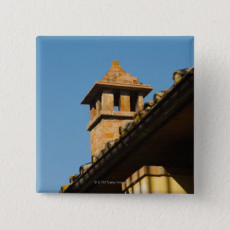 Low angle view of a chimney on a roof, San Pinback Button