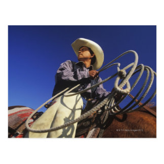 Low angle view of a cowboy riding a horse, postcard