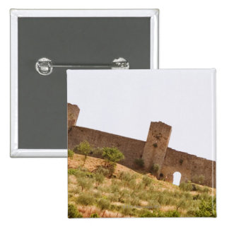 Low angle view of a fort, Monteriggioni, Siena 2 Inch Square Button