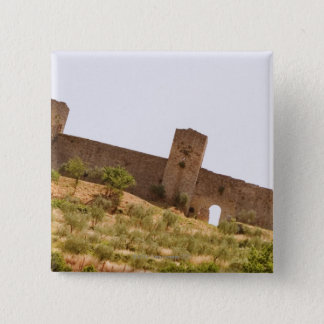Low angle view of a fort, Monteriggioni, Siena Pinback Button