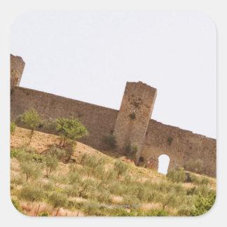 Low angle view of a fort, Monteriggioni, Siena Square Sticker