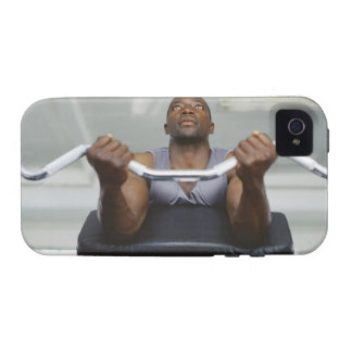 Low angle view of a mid adult man exercising in vibe iPhone 4 case
