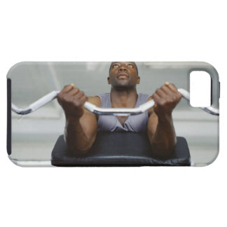 Low angle view of a mid adult man exercising in iPhone 5 case
