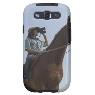 Low angle view of a teenage girl riding a horse galaxy SIII case