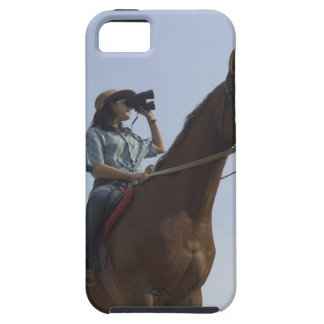 Low angle view of a teenage girl riding a horse iPhone SE/5/5s case