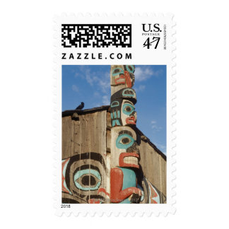 Low angle view of a Totem Pole, Haines, Alaska, Postage