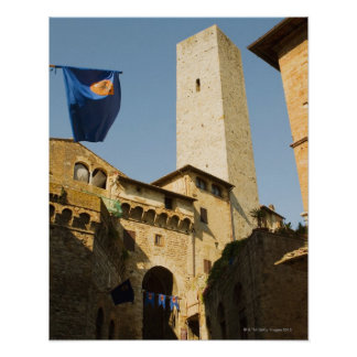 Low angle view of a tower, Torri Di San Poster