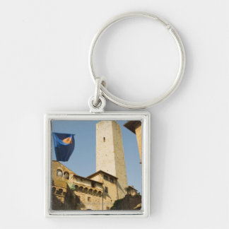 Low angle view of a tower, Torri Di San Silver-Colored Square Keychain