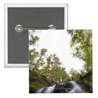 Low Angle View of a Waterfall with Sky view 2 Inch Square Button