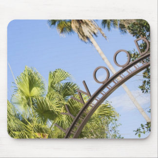 Low angle view of an entrance gate mouse pad