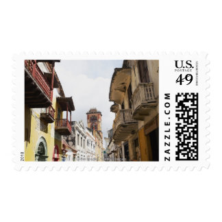 Low angle view of apartments along the street postage stamps