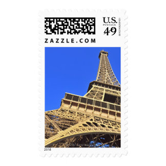 Low angle view of Eiffel Tower against blue sky 2 Postage