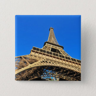 Low angle view of Eiffel Tower against blue sky Pinback Button