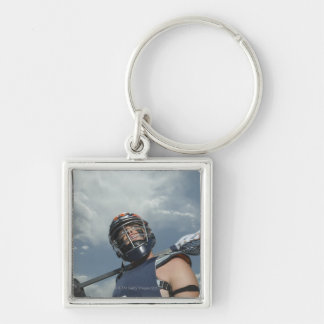 Low angle view of jai-alai player 2 Silver-Colored square keychain