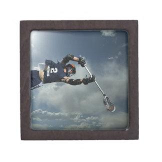 Low angle view of jai-alai player jumping jewelry box