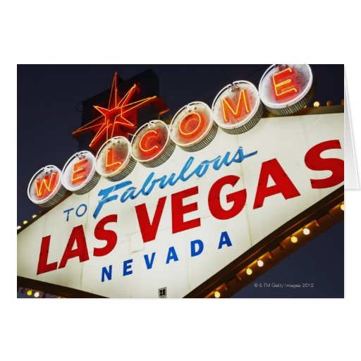 Low angle view of neon sign, Las Vegas, Nevada Greeting Card