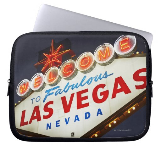 Low angle view of neon sign, Las Vegas, Nevada Laptop Sleeve