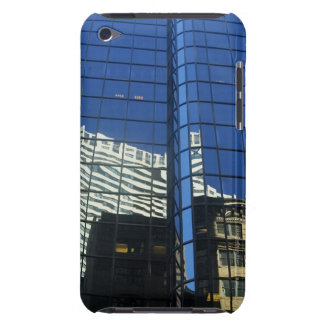 Low angle view of the reflection of buildings on iPod touch cover