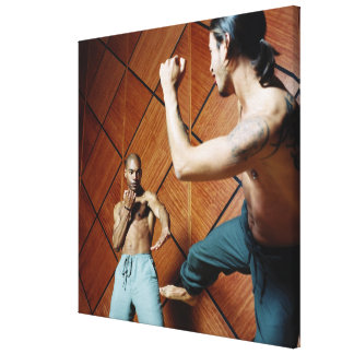Low angle view of two young men practicing canvas print
