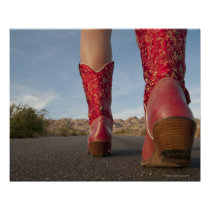 Low-angle view of woman wearing cowboy boots poster