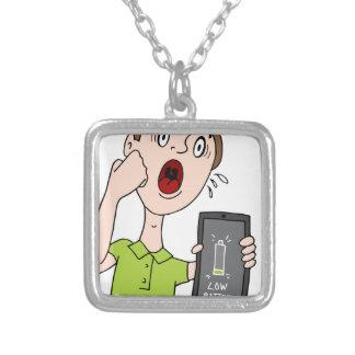 Low Battery Smart Phone Alert Square Pendant Necklace