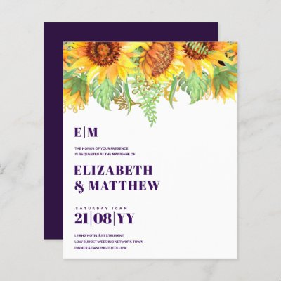 Low Budget Deep Purple Beautiful Sunflower Wedding