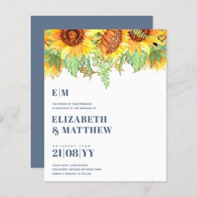 Low Budget Dusty Blue Sunflowers Wedding