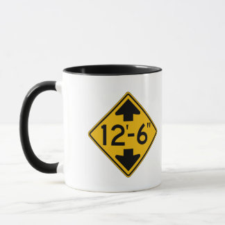 Low Clearance English, Traffic Warning Sign, USA Mug
