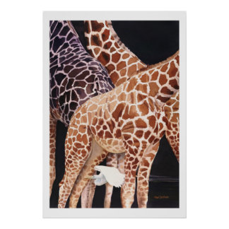 """Low Clearance"" Giraffe Wildlife Animal Watercolor Poster"