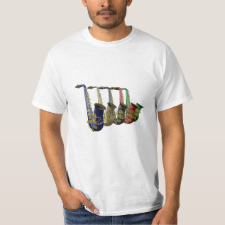 Low Cost 5 Colorful Saxophones Value T Shirt at Zazzle