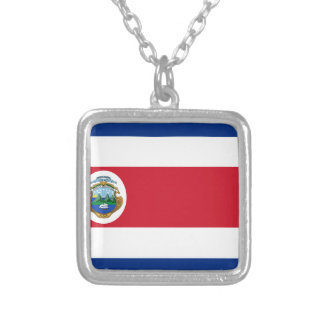 Low Cost! Costa Rica Flag Silver Plated Necklace