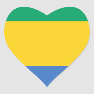 Low Cost! Gabon Flag Heart Sticker