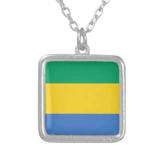 Low Cost! Gabon Flag Silver Plated Necklace