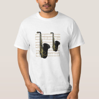 Low Cost Gold and Black Saxophones Music T Shirt at Zazzle